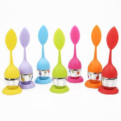 Colino da tè 7 colori del silicone infusore riutilizzabili colino da tè dolce foglio con goccia vassoio della novità sfera filtro Tea strumento EEA849