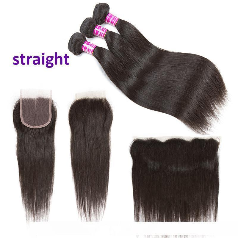 A Unprocessed Brazilian Body Wave Virgin Human Hair 3 Bundles With Frontal Water Deep Kinky Curly Straight Remy Hair Extensions And Clo
