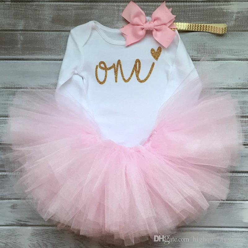 Highqualit New Cotton Baby Girl First 1st Birthday Party Tutu Dresses for Vestidos Infantil Princess Clothes 1 Year Girls Children Wear