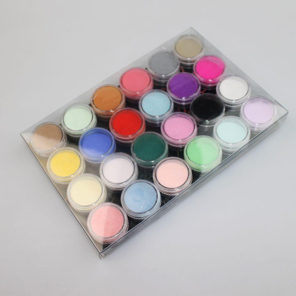 12 18 24 Renk Akrilik Toz Toz UV Tasarım 3D İpuçları Dekorasyon Manikür Tırnak Sanat Dectoration DIY Tırnak Toz Araçları Kristal toz set