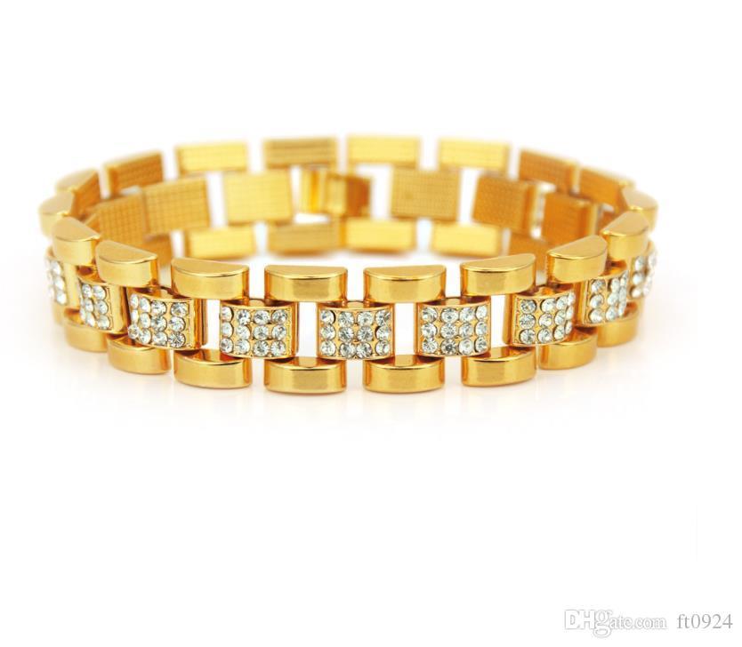 Новые европейские и американские тенденции моды хип-хоп крутые часы личность инкрустированы золотыми мужскими аксессуарами украшения браслет