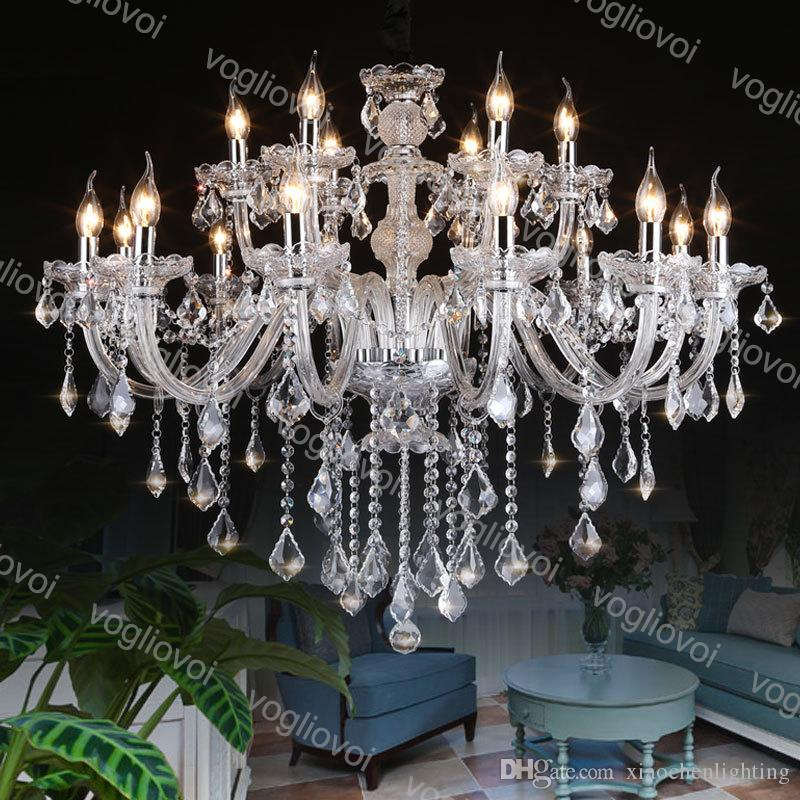Cristal Chandelier Moderno 6 8 10 12 Cabeça E14 Quente Fresco Branco LED Pingente Pendurado Lâmpada Luz Luminária Luminária Luminária 110V-240V DHL