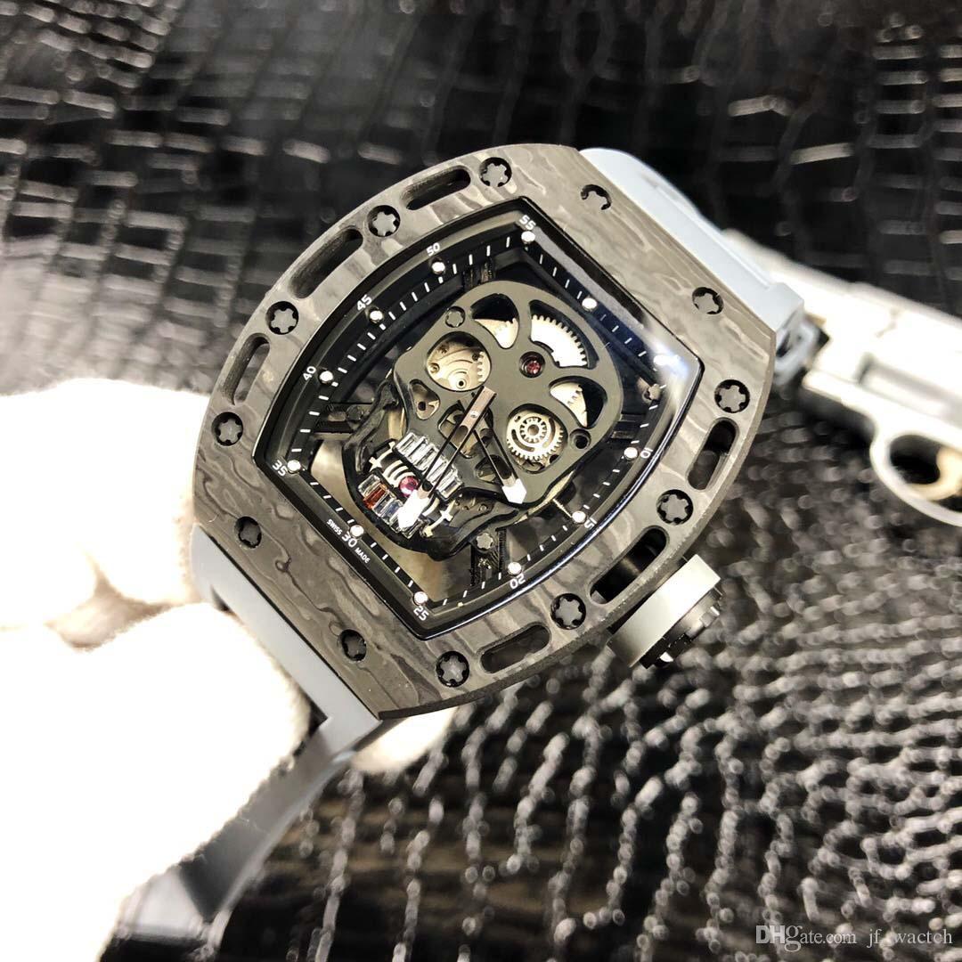 Mekanik lüks saatler kafatası hareketi moda rahat erkek saatleri çin paslanmaz çelik lüks kadranı otomatik izlemek mens