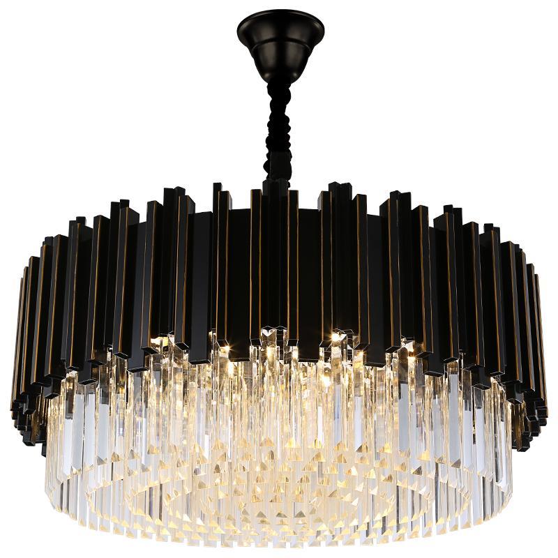 الفاخرة الحديثة جولة كريستال الثريا ضوء مصباح الجسم لغرفة المعيشة اللوبي معلق LED اللمعان دي كريستال الإضاءة الأسود