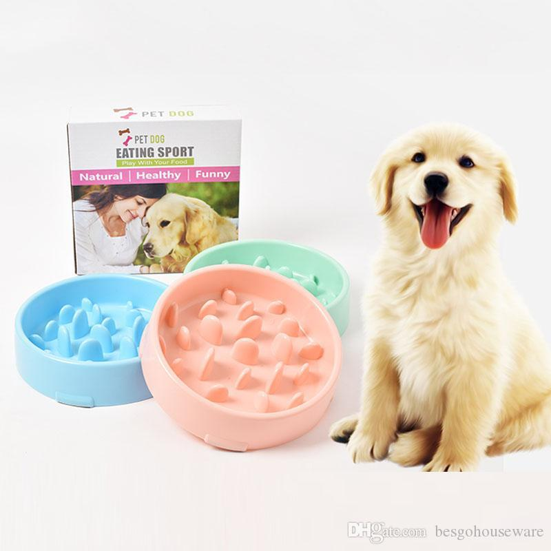 Durable Anti Choke Gran capacidad Bowl Pet Dog Feeding Food Bowl Puppy Eat Slow Food Bowl Anti Slip Dogs Plastic Bowls BH1538 TQQ
