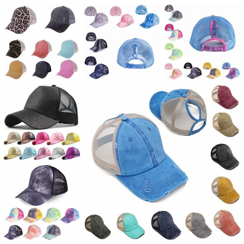 Ponytail Baseball Caps Gliter Messy Bun Hats Lavato Cotton Tie Dye Snapbacks Leopard Visiera solare Cappello da esterno Cappello da festa CCA12282 20pcs