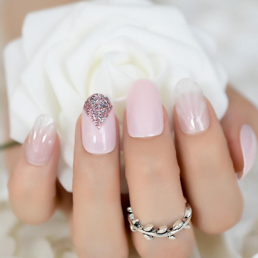 3d White Jade Shell Style Unghie finte Faux Ongles Baby Pink French falso colorato Glitter Stampa On Summer Wear Nail Art Tip