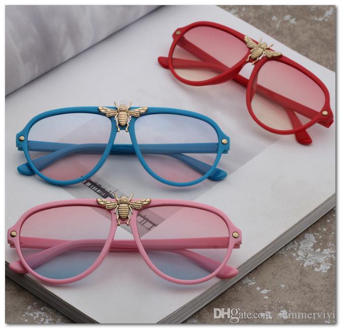 Marque enfants métaux abeilles garçons et filles de la mode de lunettes de soleil Uv 400 enfants lunettes de soleil lunettes de plage adumbral Lunettes de soleil enfants J0861