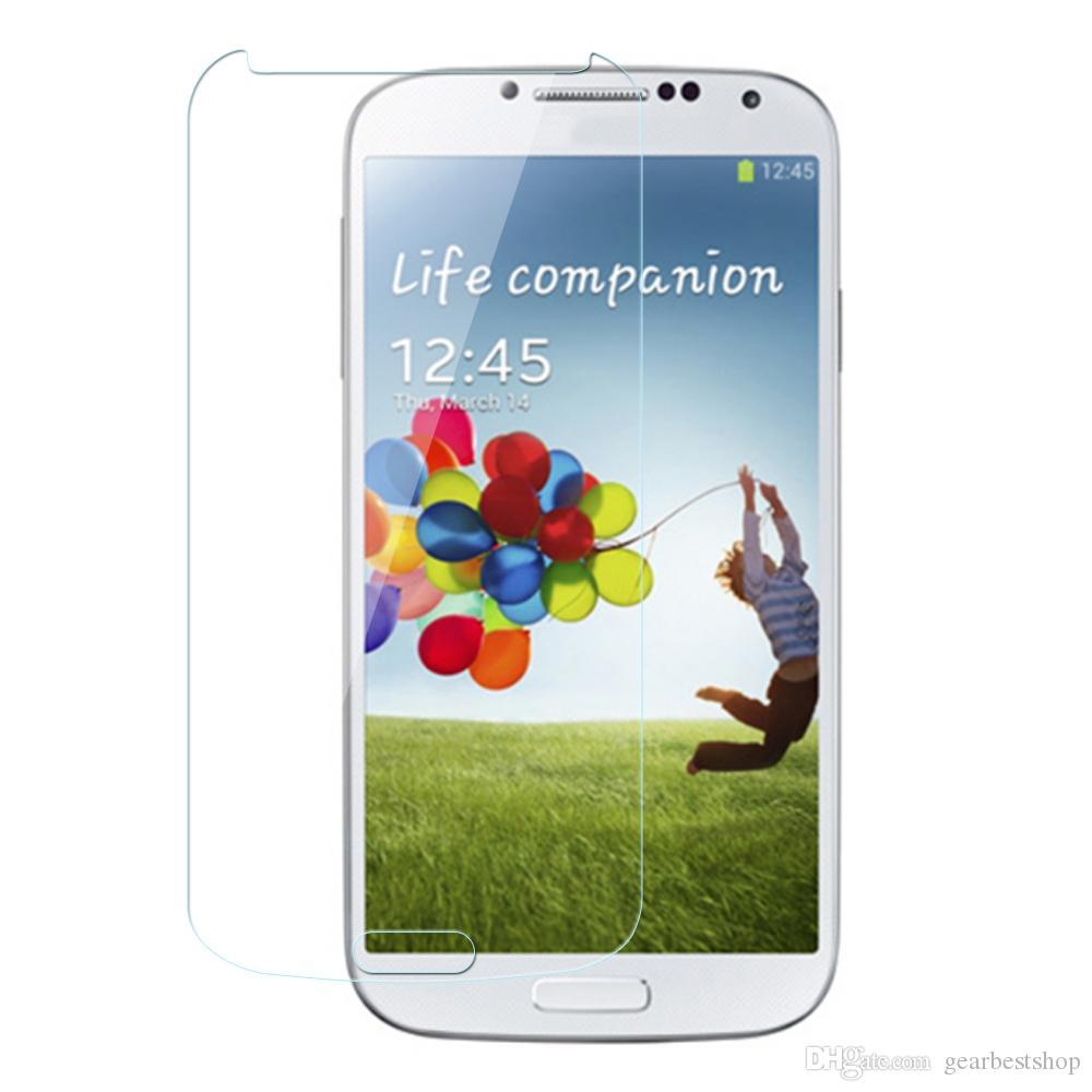 Película de cristal para pantalla no completa para Samsung Galaxy S4, protector de pantalla anti-rasguños antihuellas con caja para minoristas