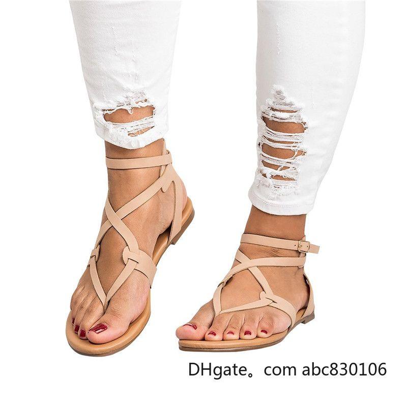2019 Sólido Mujeres Hebilla Casual Sandalias Cross Tie Flat Tobillo Verano Zapatos de Playa Tallas grandes para Mujer Vintage Gladiador Sandalias