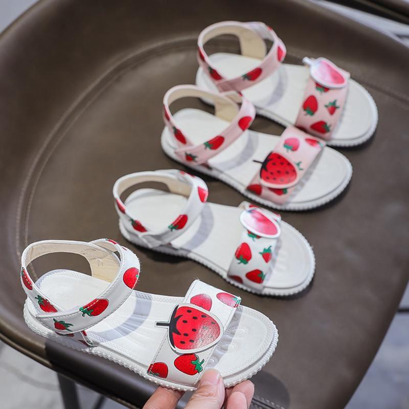 Bambino infante di estate delle neonate del fumetto Stampa sandali principessa Shoes Shoes Hook Loop floreale antiscivolo Moda Bambino