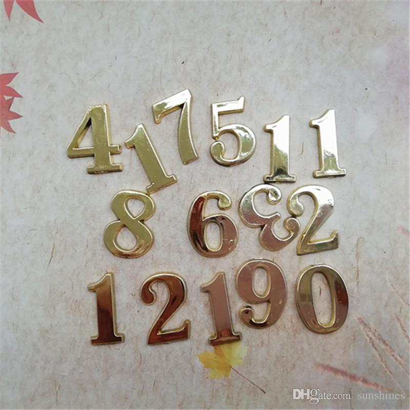 Wholesale New 50PCS 1.5CM Plastic Gold Arabic Numbers for DIY Repair Quartz Clock Accessories FIT-UP