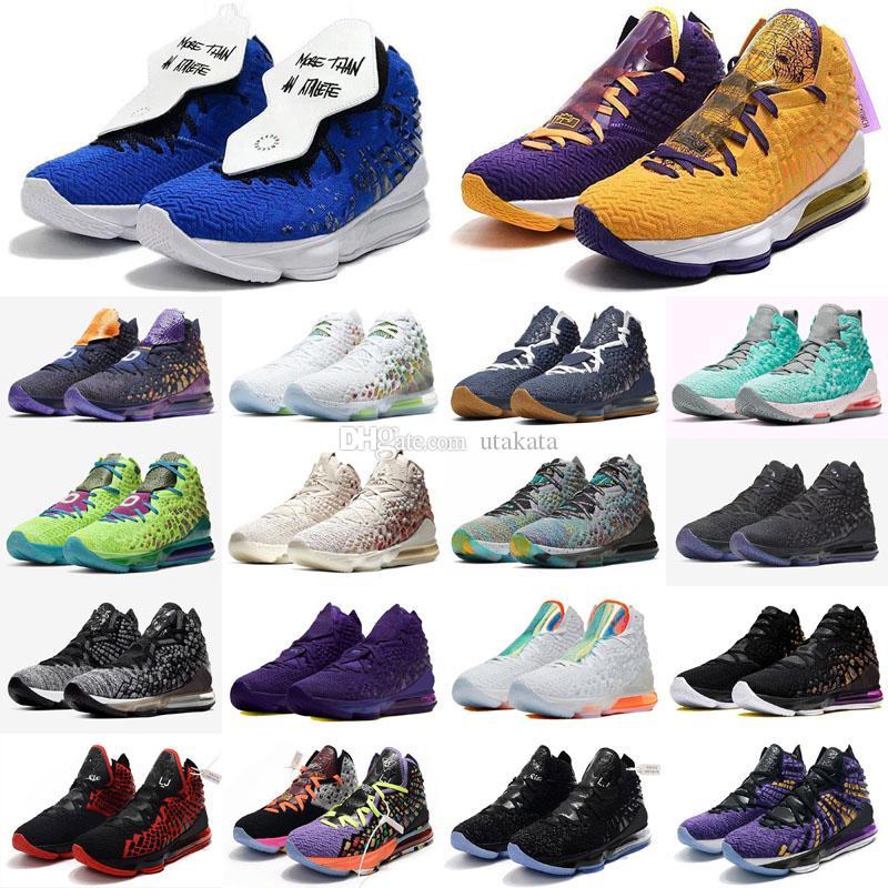 السابع عشر 17 المستقبل لوس انجليس ليكرز الباذنجان أحذية الرجال لكرة السلة المساواة أوريو ولدت جيمس 17 أسود أبيض مصمم رجالي الرياضة حذاء رياضة مدرب 40-46