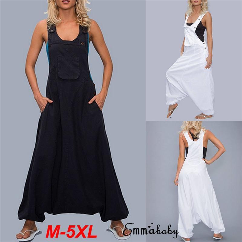 Fashion Stylish Women Bib Cargo Pants Hip Hop Harem Bib Pants Clubwear Outwear Jumpsuit Romper Trouser One-piece Plus Size M-5XL