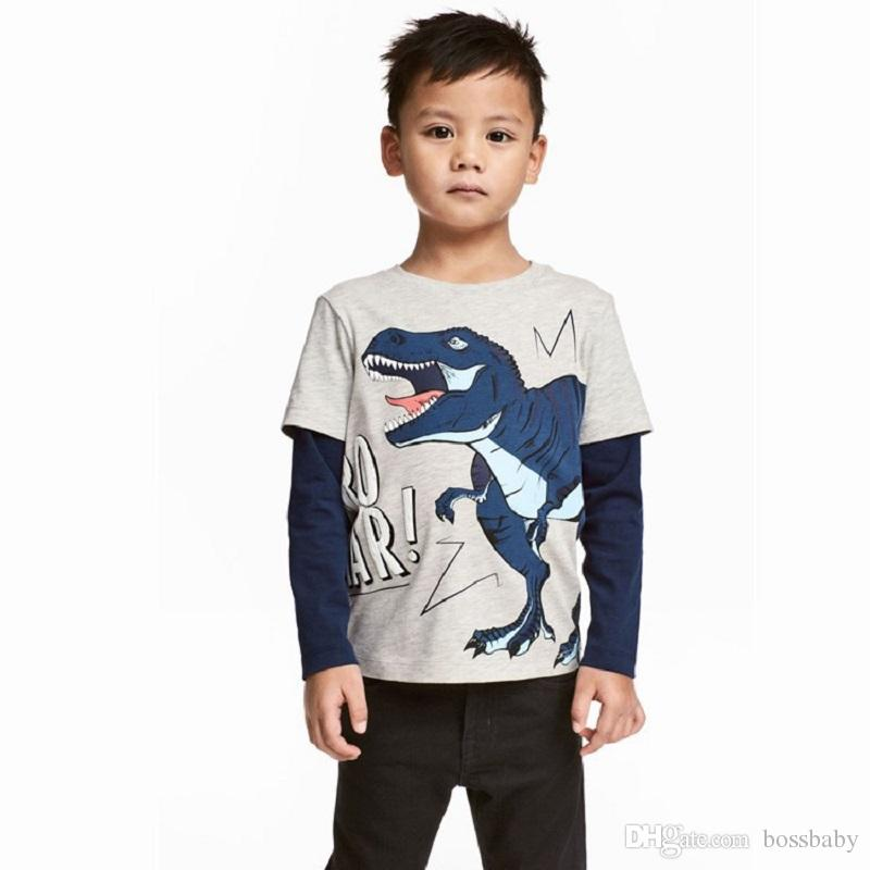 24a4f9993461 2019 Boy Long Sleeve T Shirts Cotton Cartoon Dinosaur Pattern Color  Matching Keep Warm Soft Round Neck Childrens Wear 15 From Bossbaby, $3.81 |  DHgate.Com