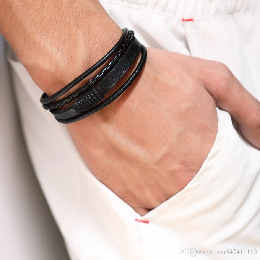 Мода Плетеный Черный Коричневый кожаный Mens браслет ручной работы Дизайн хип-хоп ювелирных изделий панка браслеты для мужчин Подарок