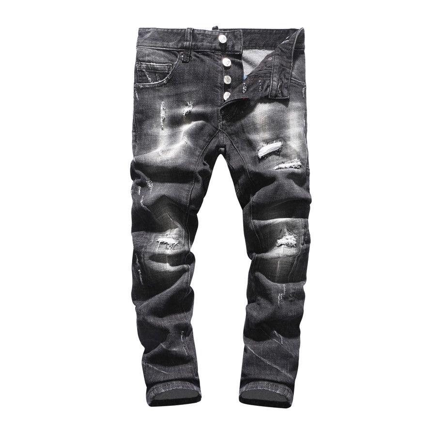 2020 para hombre Negro Stretch Jeans diseñador de moda Slim Fit lavada Moto Pantalones vaqueros con paneles de los pantalones vaqueros de Hip Hop de diseñador vierte hommes