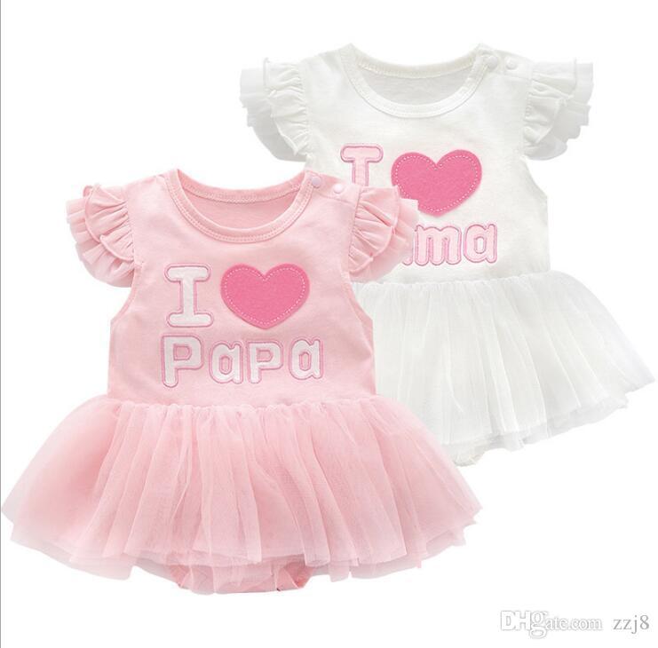 الفتيات الرضع فساتين الصيف القطن الأميرة أنا أحب بابا ماما الوليد طفلة ملابس رومبير اللباس صالح 0-12 أشهر الرضع