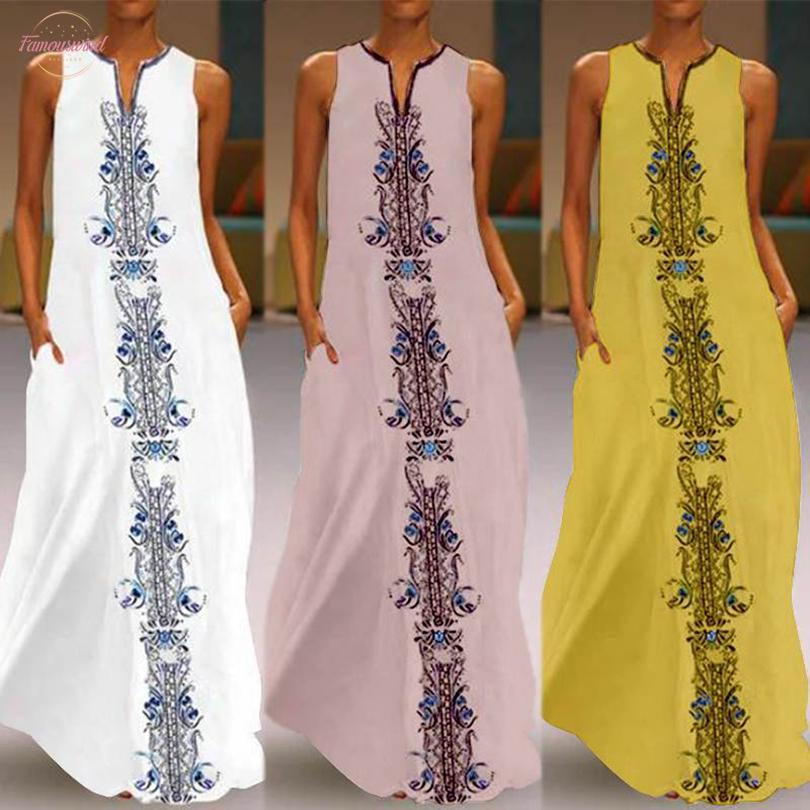 2020 Les femmes d'été sans manches Robe col en V Maxi robe Vintage Robes bain de soleil Imprimer longue Vestidos col en V Robe Kaftan Femme Plus Size