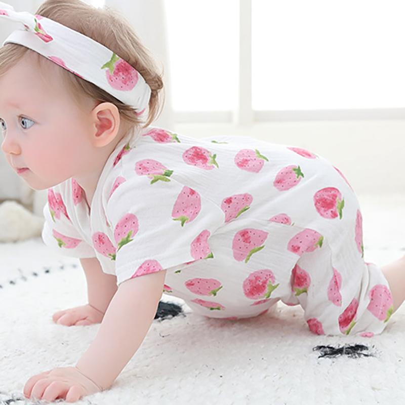 YZM012 pijama Yenidoğan Bebek tulum giyim Gazlı bez bebek Onesies Yaz kısa kollu Nefes iç çamaşırı