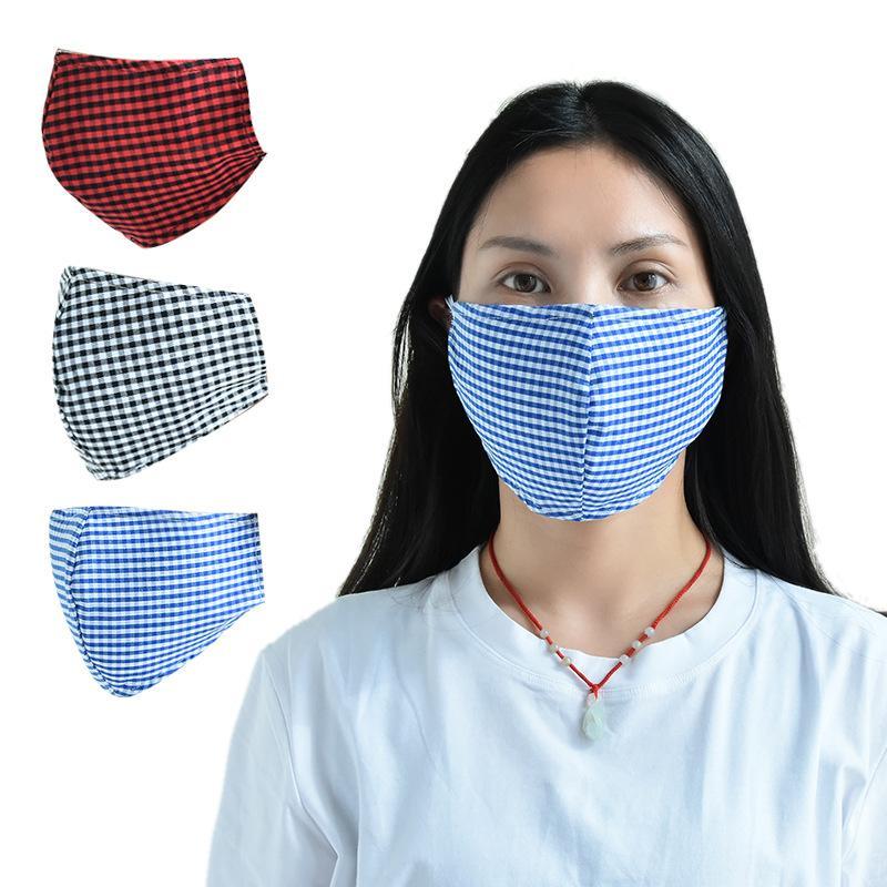 Хлопчатобумажные клетчатые маски моющиеся для мужчин и женщин взрослые защитные маски дышащая крышка рта ветрозащитные тканевые маски FFA4218