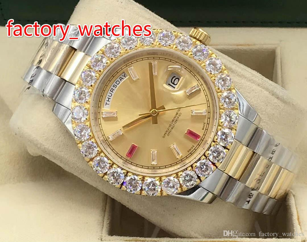 43 millimetri Prong set orologio da polso in oro giallo due toni in acciaio inox orologio da uomo automatico spazzare orologio da uomo spedizione gratuita