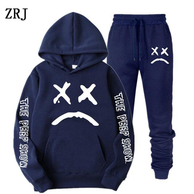 Männer Neue Trainingsanzug 2 Stück Hoodies + Hosen Herbst / Winter Lil Peep Hoodies Sweatshirts Anzug Männliche Joggen Tracksuits EL-6