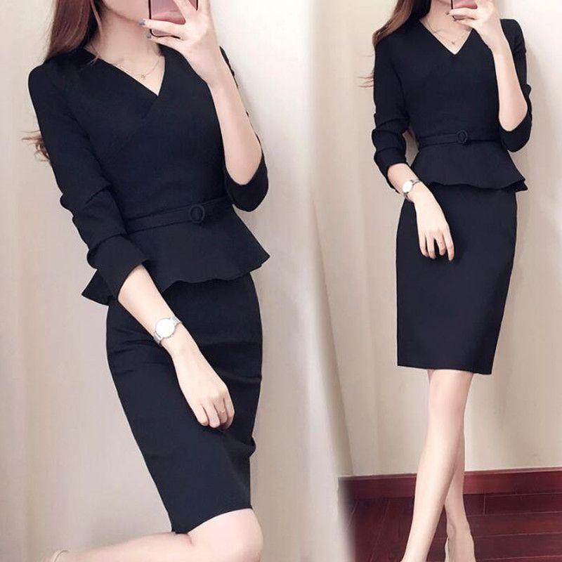Compre Vestido De Traje De Trabajo Para Mujer Oficina Mujer Damas Elegante Ropa Formal De Negocios Lápiz Vestido Falso 2 Piezas Conjunto Trajes Más El