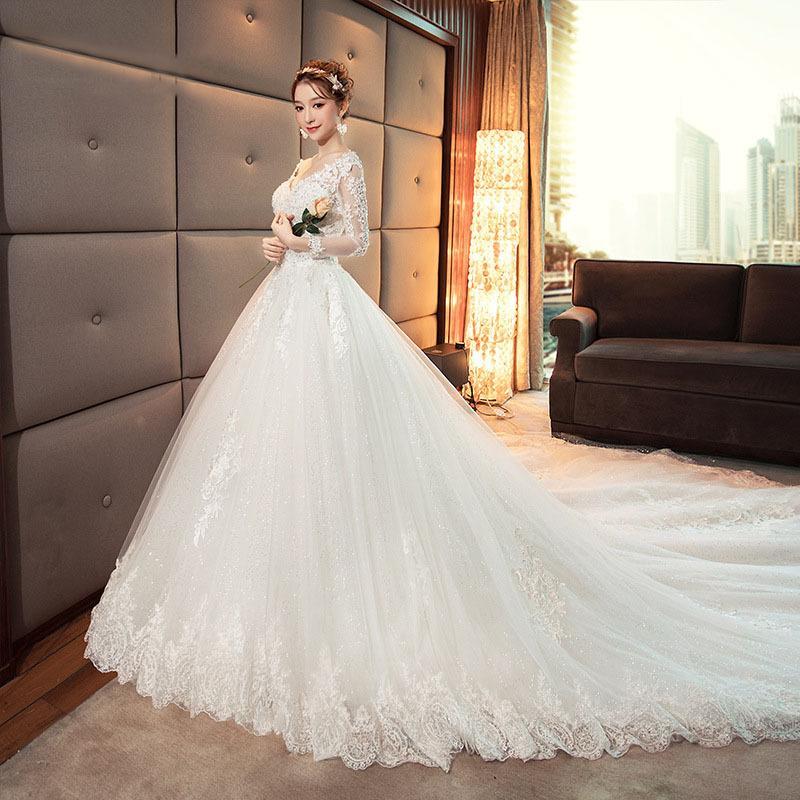 100% Dantel Kadınlar Kış Uzun Kollu Balo Beyaz Gelinlik Dantel Up Tailing Özelleştirilmiş Gelin Elbise Lady Evlilik Etek