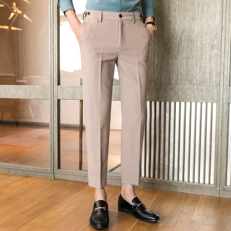 Calças Hop tornozelo comprimento Terno homens Fashion Business Casual Suit Pant Masculino Coreia do Japão Estilo Streetwear Hip