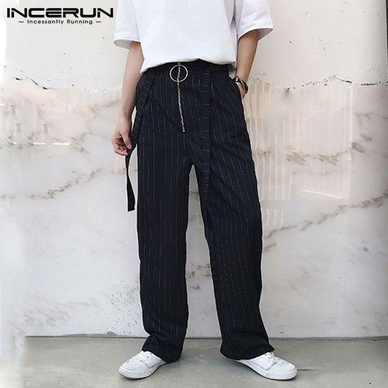 INCERUN Männer Gestreifte Hosen Joggers Vintage-Reißverschluss Chic gerade Hose Männer mit Gurt 2020 Los Street Pantalones Hombre