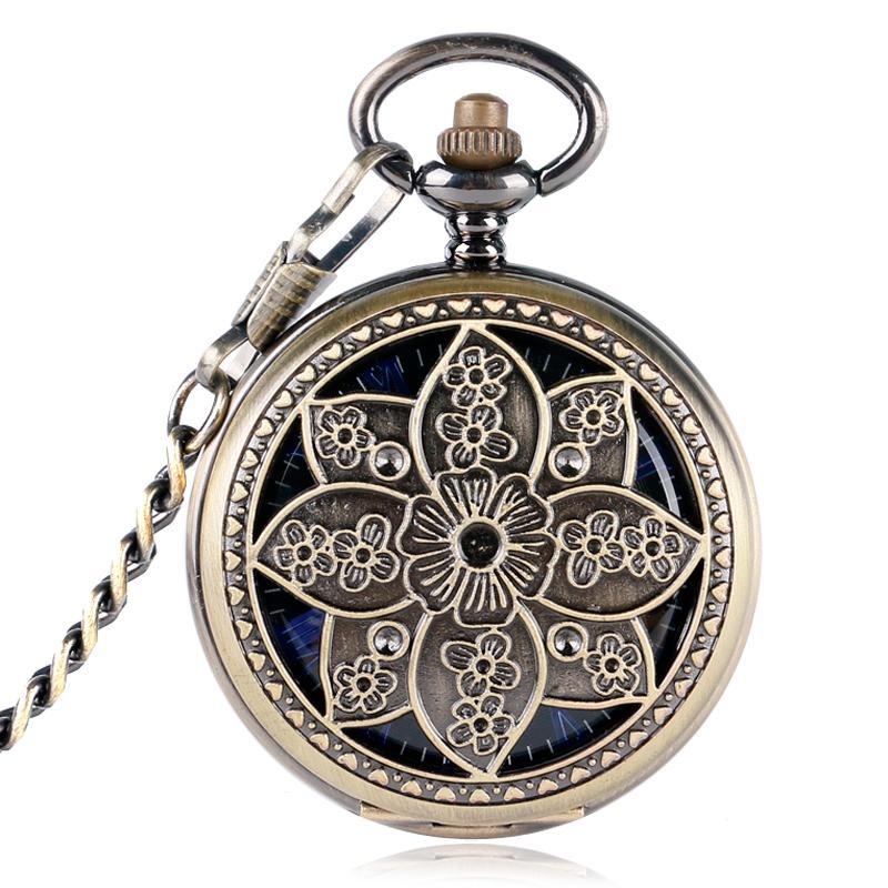 Orologio da taschino meccanico vintage a carica manuale Fiore Hollow Lotus Designer bronzo con numeri blu scheletro con pendente a catena regalo