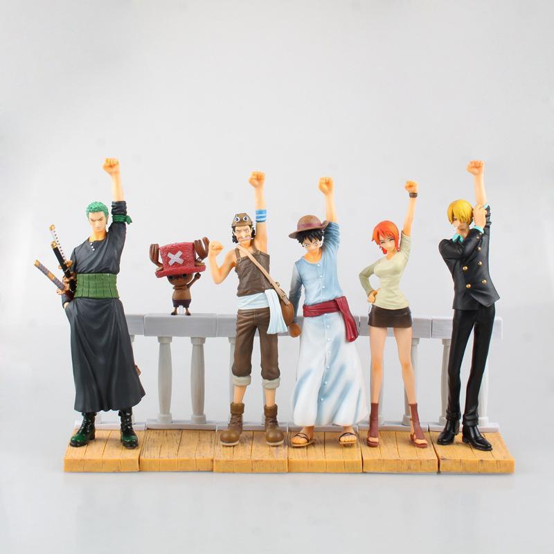 Anime One Piece bambola giocattolo scimmia D Luffy Roronoa Zoro Nami Sanji Usopp PVC Action Figure da collezione Modello 6 ~ 20 centimetri (6pcs / set)