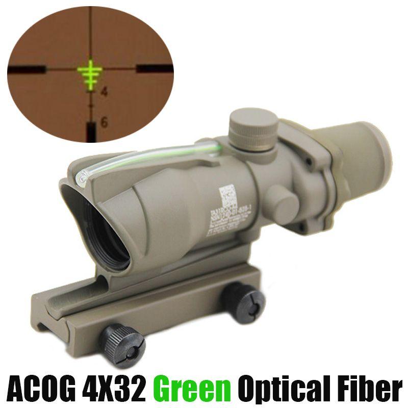 التكتيكي الفريق التعاوني 4x32 الألياف البصرية نطاق الأخضر مضيئة بندقية نطاق ريال الأخضر الألياف البصر للصيد 20 ملليمتر الحديدية جبل