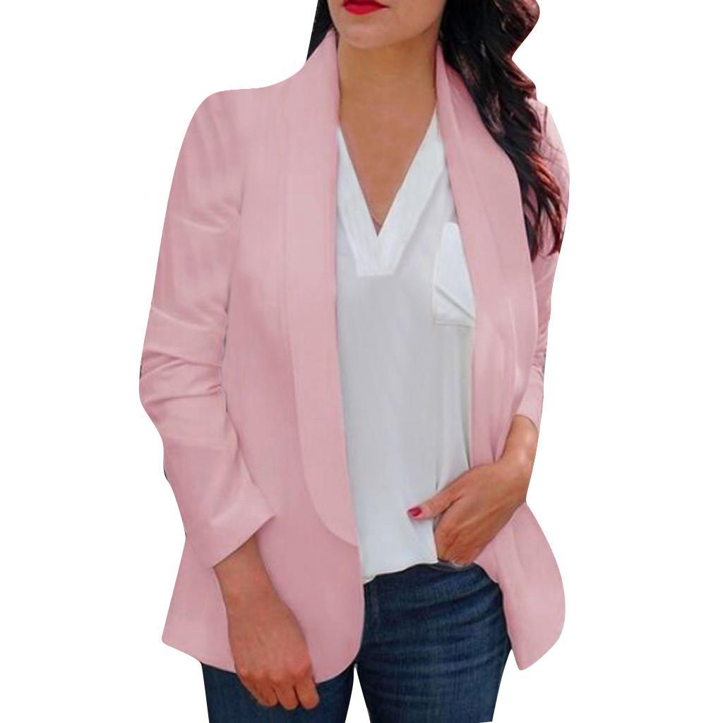 Ladies Blazers and Jackets Women Solid Long Sleeve Jacket Work Office Blazer Coat Streetwear blazer feminino Plus Size z0715