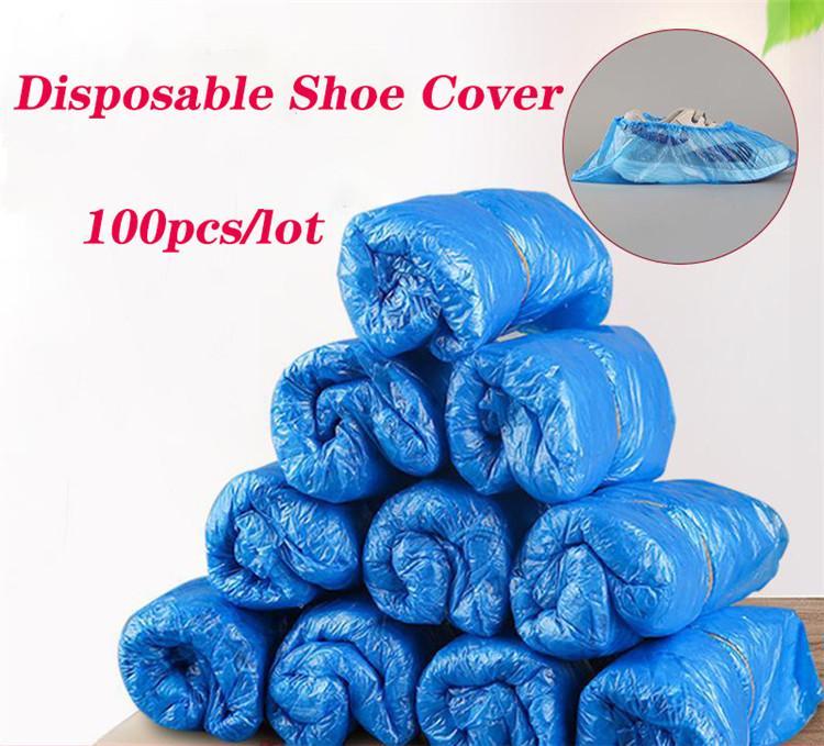 100pcs / lot Schuh-Abdeckung Wegwerfschuh Staubdichtes Anti-Rutsch-Schuhe bedecken wasserdicht Rutschfest-Schuh-Beuten für Haushalt