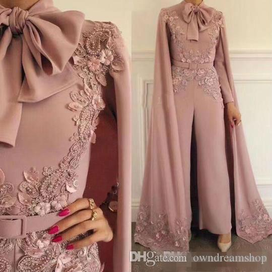 Lace Beaded 2019 African Dubai Evening Dresses Chiffon Vintage Women Jumpsuits Plus Size Formal Party Prom Gowns with Wrap