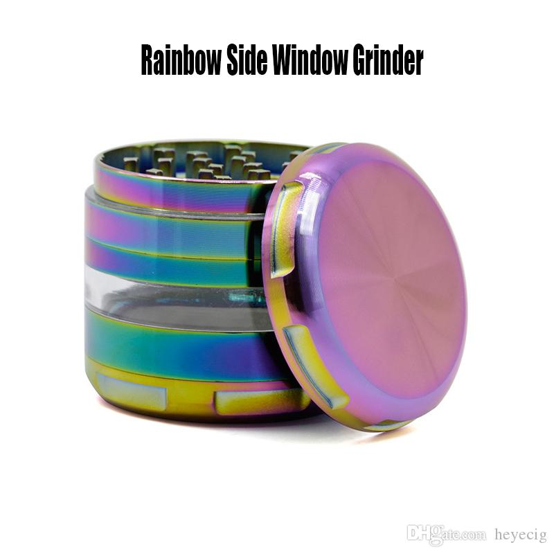 Side Window Grinder Rainbow Color 4 Layers Diameter 63mm Ice Blue Zinc Alloy Circular ARC Chamfering Metal Herb Grinder