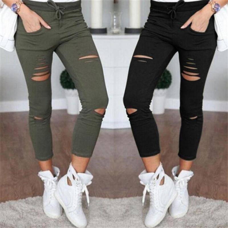 Тренироваться Леггинсы женские брюки Дырки Разрушенные Mid-теленок карандаш брюки повседневные брюки черный белый Army Green Stretch рваные джинсы