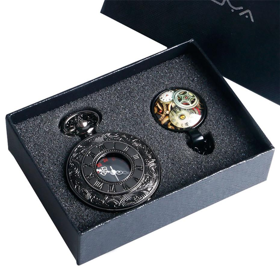 Black Roman Number Quartz Pocket Watch Wheel Necklace Chain Clock Pendant Gifts Box Set Christmas Gifts for Husband