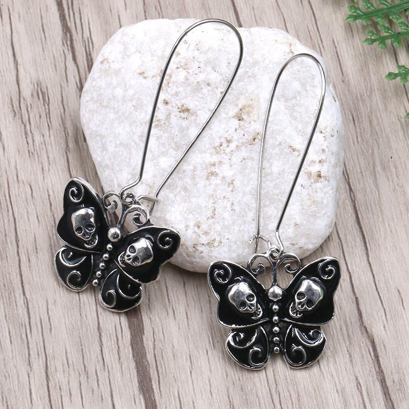 1Pair Gothic Punk Drop Butterfly Hook Dangle Earrings Skeleton Ear Stud Jewelry