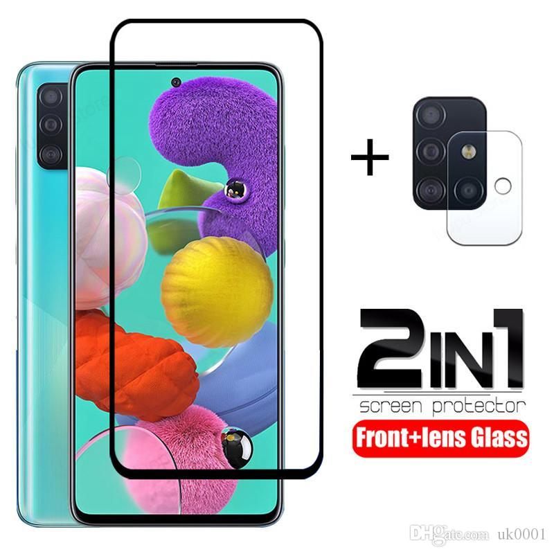 2 in 1 tempered glass for samsung A51 A71 A50 A70 screen protector camera lens SM-A515F protective glass for samsung A71 A51 uk0001