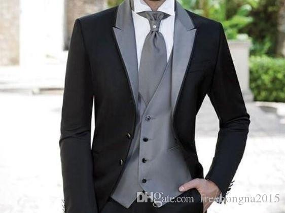 Özel Yapılmış Erkekler Siyah Blazer Gri Yaka Erkek Takım Elbise Erkek Düğün Damat Smokin Groomsmen Örgün Balo 3 Parça (ceket + Pantolon + Yelek) D79