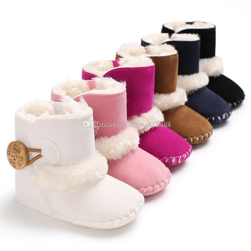 Believed Snow Boots for Baby Fashion Slip-on Girls Waterproof Upper Kids Winter Leather Warm Flat Shoes