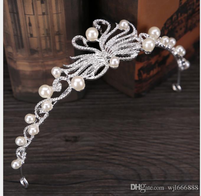 Noiva cocar pérola cisne coroa noiva diamante coroa vestido de noiva acessório ornamento do cabelo coroa