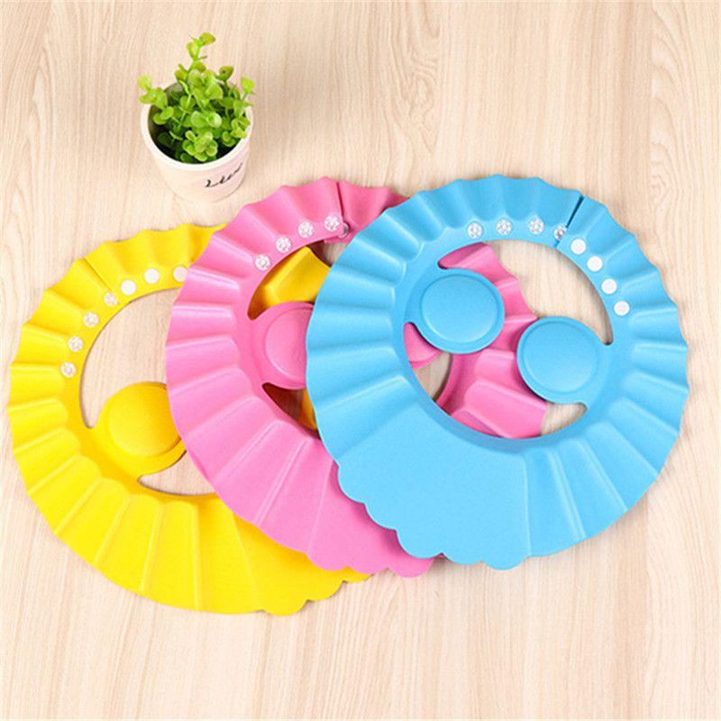 Wholesale- Adjustable Baby Kid Shower Cap Shampoo Bathing Protection Shower Comfortable Multicolor Wash Hair Newborn Infant solid color 0052