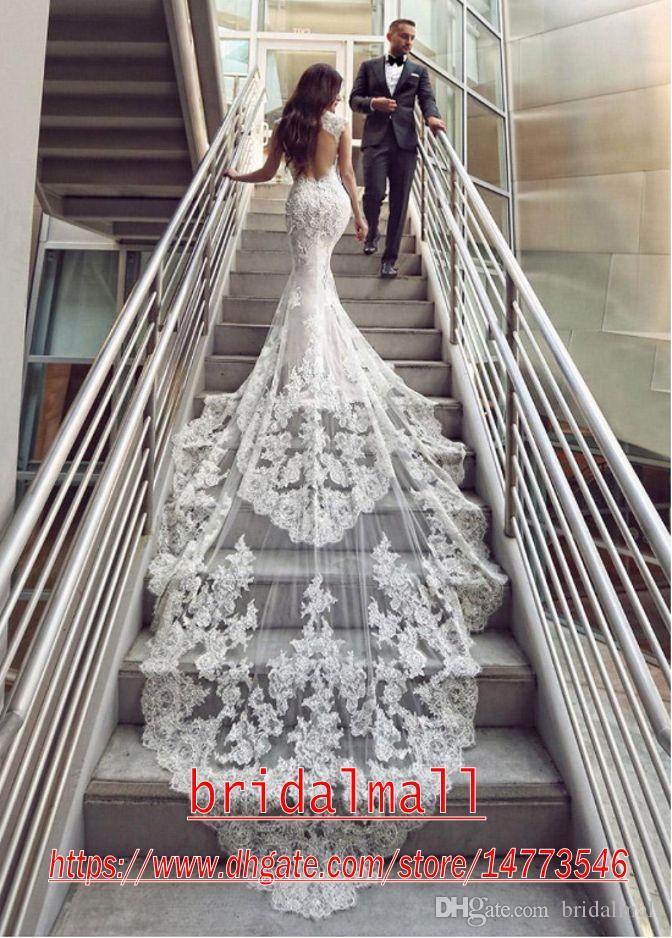 Sexy 2020 Sereia apliques vestidos de casamento Lace mangas Boho Praia Vestidos de casamento Backless Chruch vestido nupcial personalizado vestidos de novia