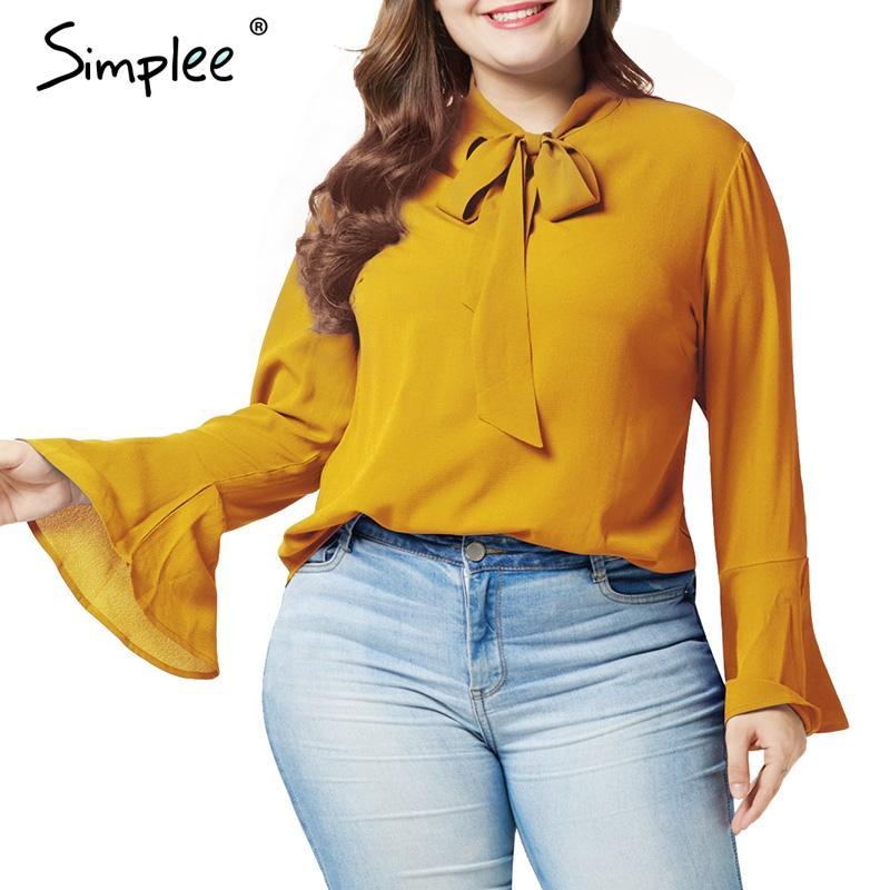 Compre Simplee Solido Tallas Grandes Blusa Para Mujer Camisa De Manga Larga Pajarita Blusa De Gasa O Cuello De Oficina Para Mujer Ropa De Trabajo Camisa Superior Femenina A 13 59 Del