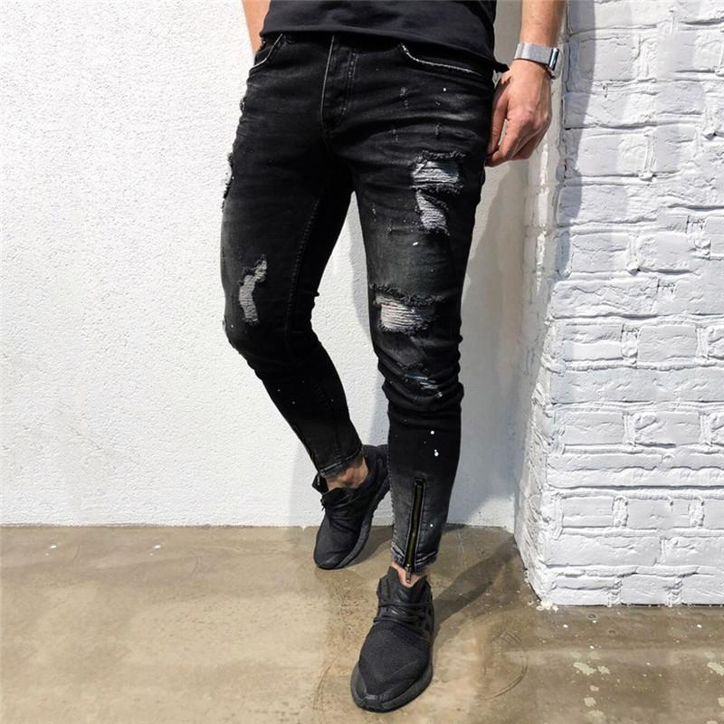 Men's Pants Skinny Jeans Men Stretch Denim Pants Washed Distressed Ripped Jeans For Men Freyed Slim Fit Trousers E23
