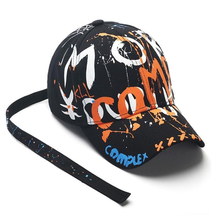 TULA018 été femme occasionnels casquette hip hop coton hommes printemps peinture casquette de baseball snapback graffiti longue ceinture